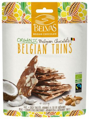 Belgian Thins Milk Coco Almond 120g