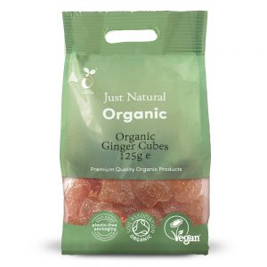 Organic Ginger Candied Cubes 125g