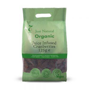 Organic Juice Infused Cranberries 125g
